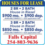 Property for Rent!  Falls Capital, Inc.  254-803-9636.  Residential Properties for Lease.    House for rent, 2 bedroom, 2 bathroom house in Riesel.  $900 month, $900 deposit and $25 application fee.   House for rent, 3 bedroom, 2 bathroom house in Riesel.  $850 month, $850 deposit and $25 application fee.    For Units that allow Pets – $500.00 Non Refundable Pet Deposit for first pet and $250.00 for each pet after.  All Applicants are subject to screening based on criminal, credit, and landlord history.  Reisel, Bedroom Bathroom, Dining room, Washer and Dryer, Apartments for rent, Apartments  for lease, Duplex for rent, Duplex for lease.
