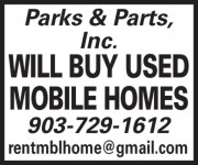 Parks & Parts, Inc. will buy mobile homes.  903-729-1612.  rentmblhome@gmail.com    Parks and Parts is located at 537 Private Road 6426, Palestine, TX 75803. This location is in Anderson County and the Palestine, TX Metropolitan Area.  Recreational vehicle, bedroom bathroom, per month, /mo, land, real estate, mobile house, Parts of  Palestine, lease,