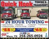 Quick Hook Towing and Transport, 24 hour towing