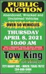 Vehicle Auction open to the public Thursday April 8th at 10 am. Over 50 units ready to buy call us for information #254-666-5484. Auc # 12497